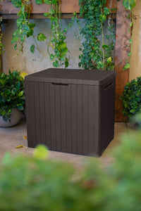 30 Gallon Resin Indoor/Outdoor Deck Box for Patio Furniture, Pool Accessories, and Toys Storage, Brown