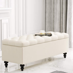 Ottoman with Storage, 51-inch Bench with Button-Tufted