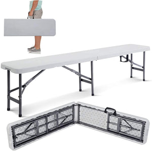 Giantex 6' Folding Bench Portable Plastic in/Outdoor Picnic Party Camping Dining Seat
