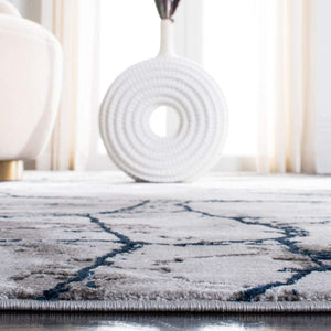 Collection Modern Abstract Area Rug  Square, Ivory Grey/Blue