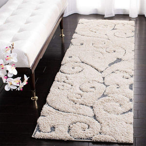 Copy of Premium Swirl Thick Plush Cream/Dark Blue   Area Shag Rug