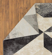 Abstract Gray Ivory Soft Area Rug