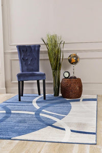 Modern Abstract Circles Blue Ivory Soft Area Rug