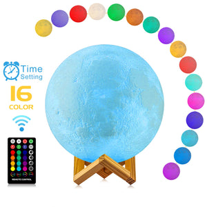 Decorative Moon Light Lamp with Time Setting and Stand 3D Print LED 16 Colors