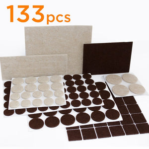 Furniture Felt Pads For Hardwood & Laminate Flooring Protection - 133 pcs various sizes