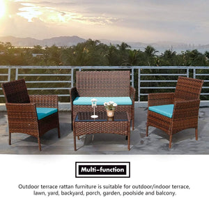 Rattan Patio Indoor/Outdoor Brown/Blue Conversation Set - Chairs / Coffee Table