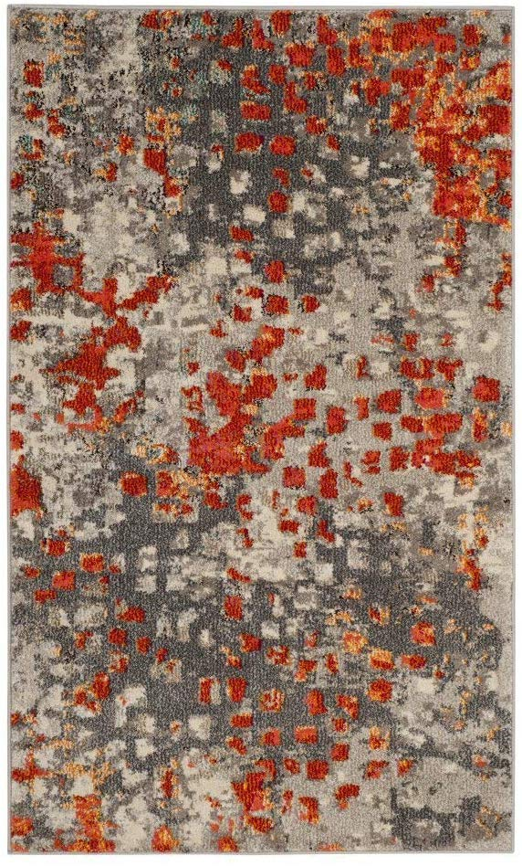 Abstract Grey Orange Soft Area Rug