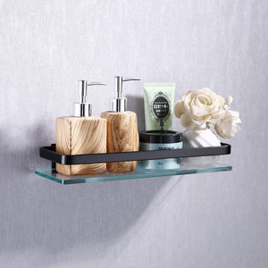 Heavy Duty Wall Mounted Corner Shelves Aluminum Tempered Glass Storage Hanging 1-Tier