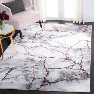 Modern Abstract Area Rug, Grey/Wine