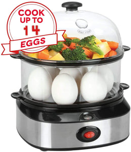 2 in 1 Electric Rapid Stainless 14 Egg Cooker/Steamer Auto Shut Off