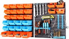 Home Garage Wall Mounted Organizer Storage Rack With Bins - 44 Pieces