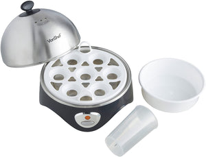 7- Egg Electric Cooker Stainless Steel with Poacher & Steamer Attachment