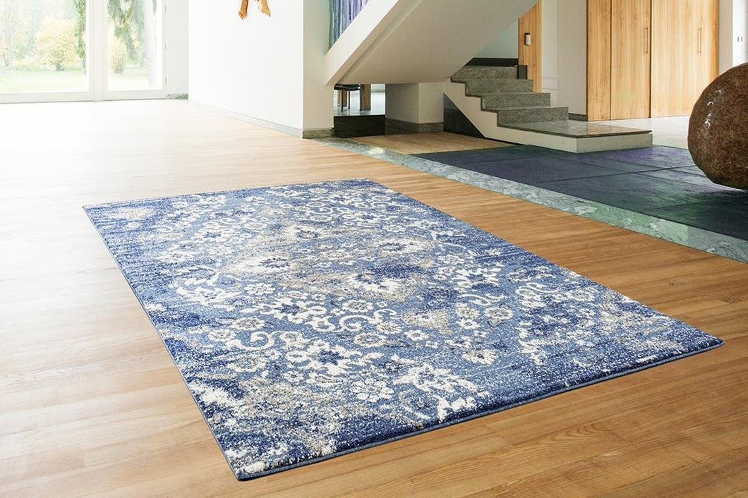 Persian Distressed Dark Blue Area Rugs