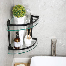 Heavy Duty Wall Mounted Corner Shelves Aluminum Tempered Glass Storage 2-Tiers