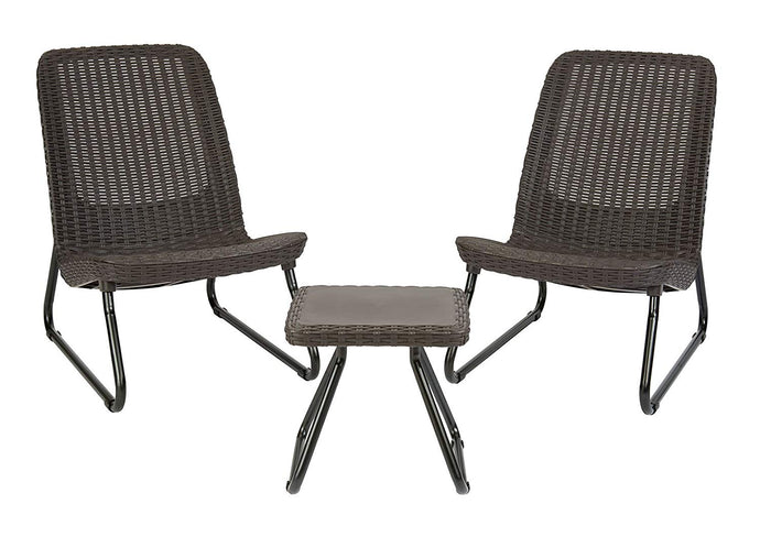 All Weather Outdoor Patio Garden Conversation Brown Chair & Table Set - 3 Pc