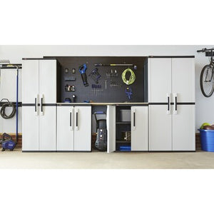 Home Garage Storage Cabinet Grey/Black with Doors and Shelves