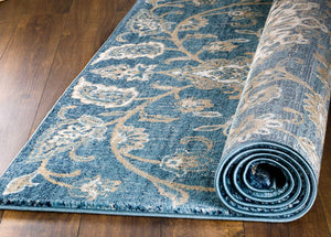 Oriental Distressed Persian Design Blue Soft Area Rug