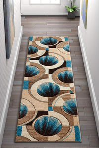 Modern Geometric Blue, Beige, Brown Comfy Hand Carved Area Rugs