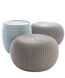 Knit Pouf Set With Storage Table - Ottoman