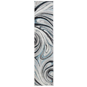 Abstract Gray Turquoise Blue Soft Area Rugs