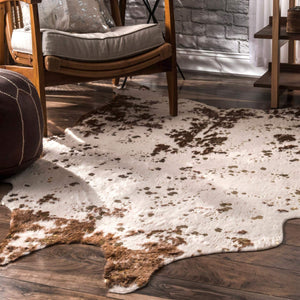 Brown Faux Cowhide Shaped Rug