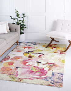 Modern Floral Ivory Multi-color Area Rugs