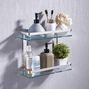 Heavy Duty Rectangular Wall Mounted Corner Shelves Aluminum Tempered Glass Storage 2-Tiers