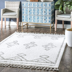 Moroccan Diamond White Grey Soft Shag Rug