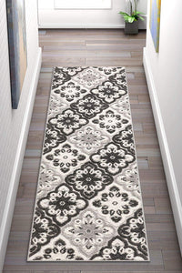 Floral Panel Gray white High Traffic Stain Resistant Indoor Outdoor Area Rug