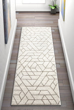 Modern Geometric Angles Tiles Ivory Area Rugs
