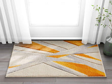 Modern Geometric Orange Yellow Ivory Comfy Hand Carved Area Rugs