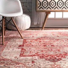nuLOOM Ethel Medallion Fringe Area Rug, Red