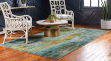 Bright Abstract Torquoise Soft Area Rug