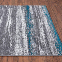Modern Abstract Soft Ivory Grey Turquoise Area Rug