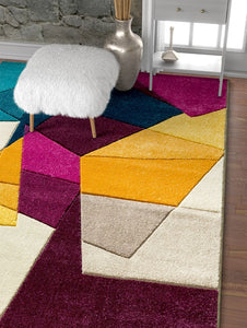 Modern Geometric Blue Purple Fuchsia Yellow Comfy Hand Carved Area Rugs