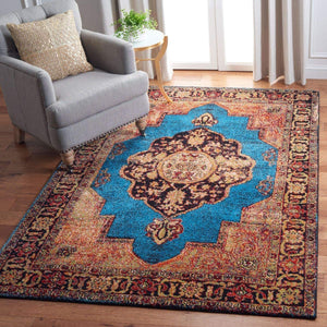 Oriental Persian Distressed Area Rug , Gold/Light Blue