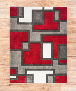 Modern Geometric Red Gray Comfy Hand Carved Area Rugs