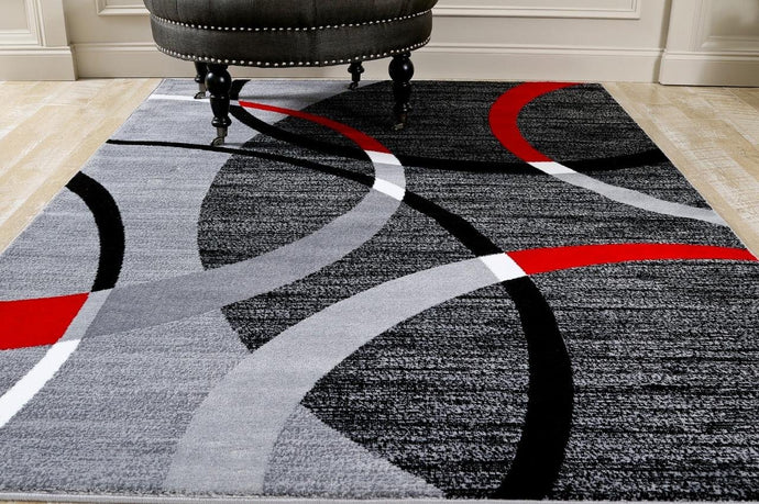 Modern Abstract Circles Red Gray Soft Area Rug
