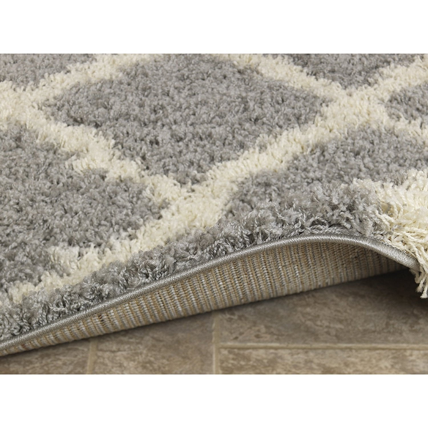 Picture of: Gray Soft White Shag Trellis Area Rugs Modern Rugs And Decor