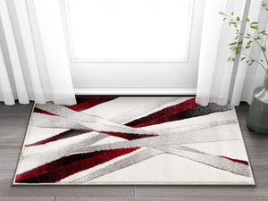 Modern Geometric Red White Comfy Hand Carved Area Rugs