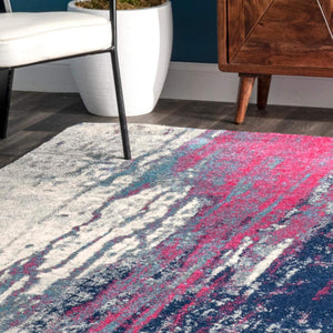 Waterfall Vintage Abstract Pink Blue Grey Soft Area Rug