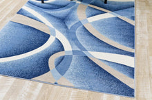 Abstract Swirls Blue Soft Area Rugs