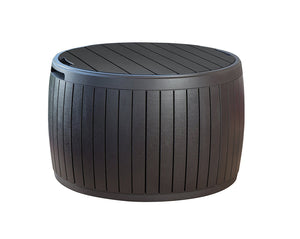 Brown Natural Wood Style Round Outdoor Storage Table/Ottoman - 37 Gallon