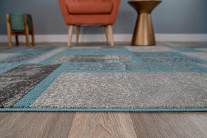 Box Pattern Teal Blue Area Rug