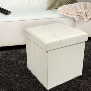 Contemporary Faux leather Storage Bench Ottoman