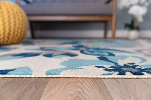 Floral Turquoise Gray Area Rugs