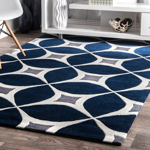 Geometric Handmade Navy Ivory Grey Area Rug