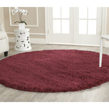 Cozy Soft Thick Maroon Shag Area Rug 2-inch Pile Height
