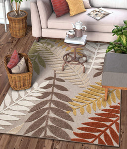 Modern Beige Floral High Traffic Stain Resistant Indoor Outdoor Area Rug