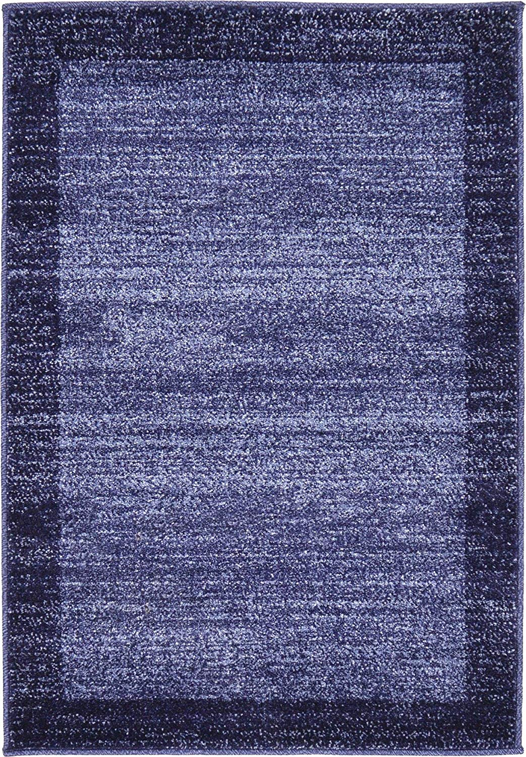 Contemporary Bordered Soft Navy Blue Area Rug